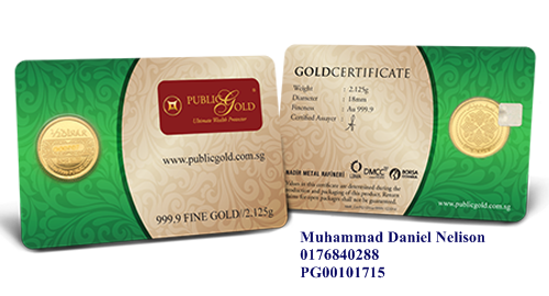 Public Gold LBMA 0.5 Dinar 2.125g (Au 999.9)