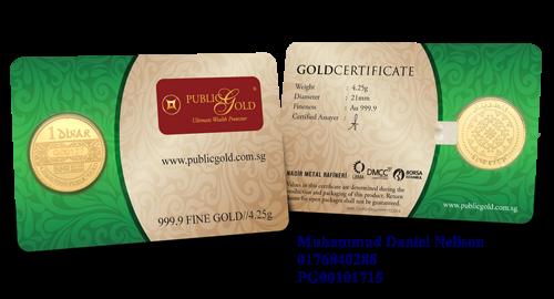 Public Gold LBMA 1 Dinar 4.25g (Au 999.9)