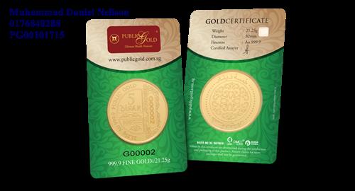 Public Gold LBMA 5 Dinar 21.25g (Au 999.9)