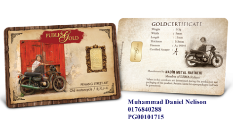 Public Gold LBMA Bullion Bar 0.5g (Au 999.9) - Motorcycle