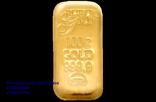 Public Gold LBMA Bullion Bar 100g (Au 999.9) - CAST BAR