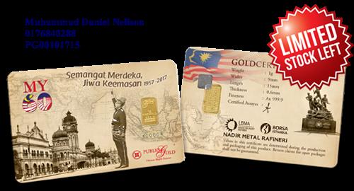 Public Gold LBMA Bullion Bar 1g (Au 999.9) - MY60