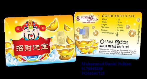 Public Gold LBMA Bullion Bar 1g (Au 999.9) - Prosperity