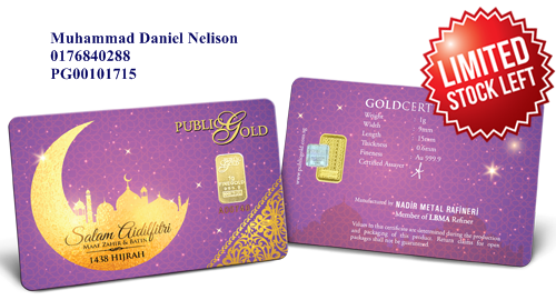 Public Gold LBMA Bullion Bar 1g (Au 999.9) - Raya