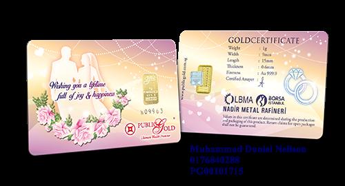 Public Gold LBMA Bullion Bar 1g (Au 999.9) - Wedding