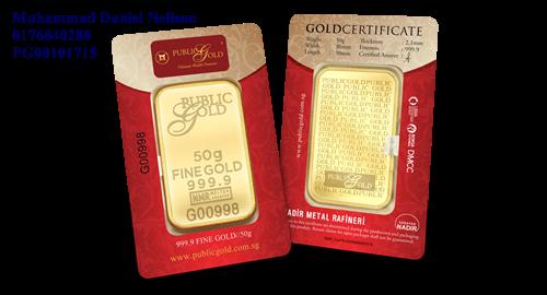 Public Gold LBMA Bullion Bar 50g (Au 999.9)