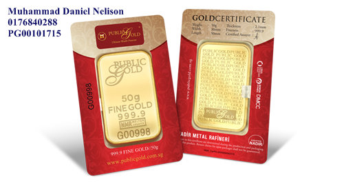 Public Gold LBMA Bullion Bar 50g (Au 999.9)