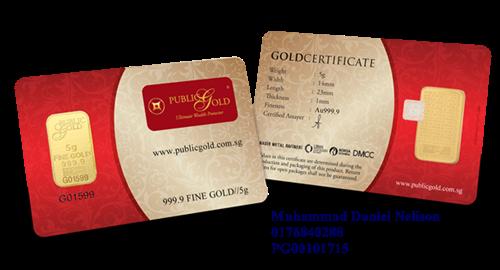 Public Gold LBMA Bullion Bar 5g (Au 999.9)